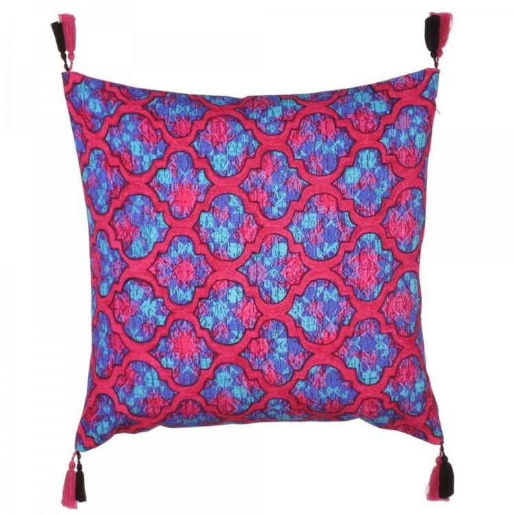 Cojín cuadrado borlas, rosa/azul (45x45)