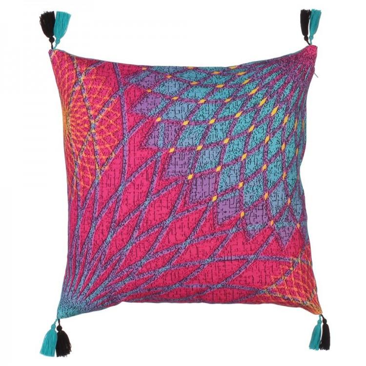 Cojín cuadrado abstracto rosa/azul (45x45)