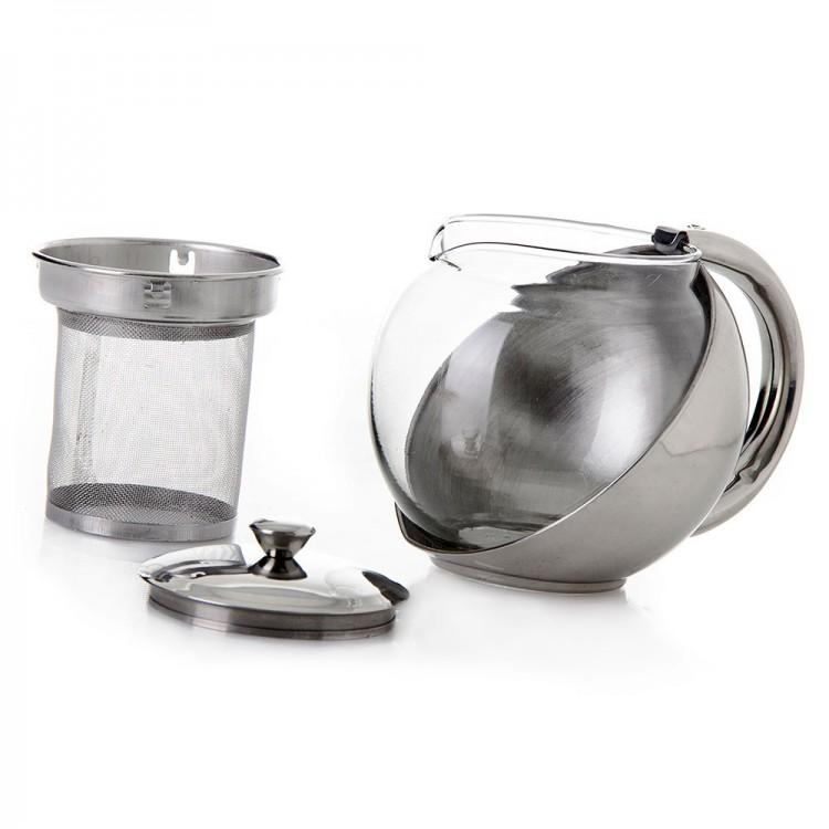 Tetera acero inoxidable/cristal, con asa, 0.5 l (11x14x9)