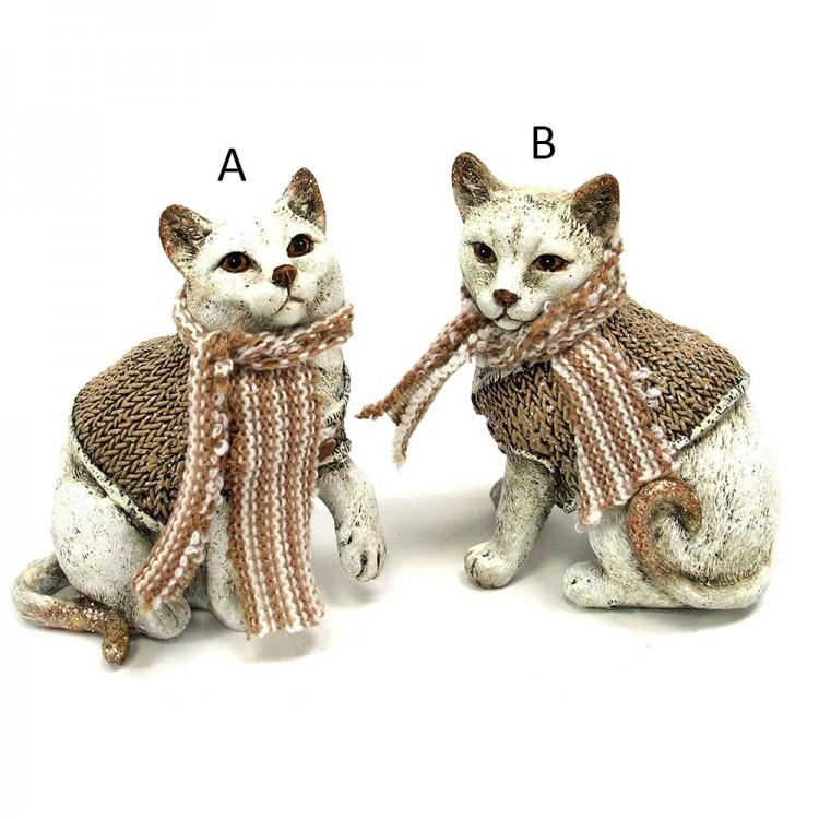 Figura gato poliresina con bufanda (10x9.5) dos modelos