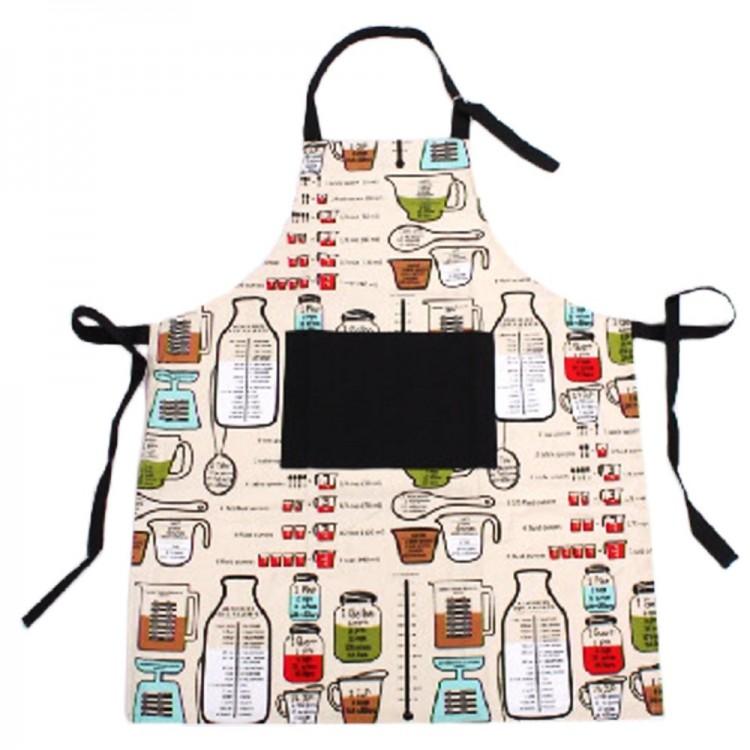 Delantal de cocina con dibujos de medidas - 100% algodón - (70x85 cm)