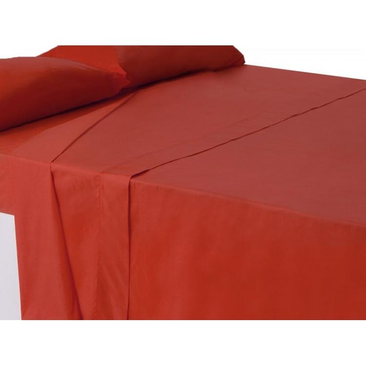 Sábana encimera roja cama 150cm