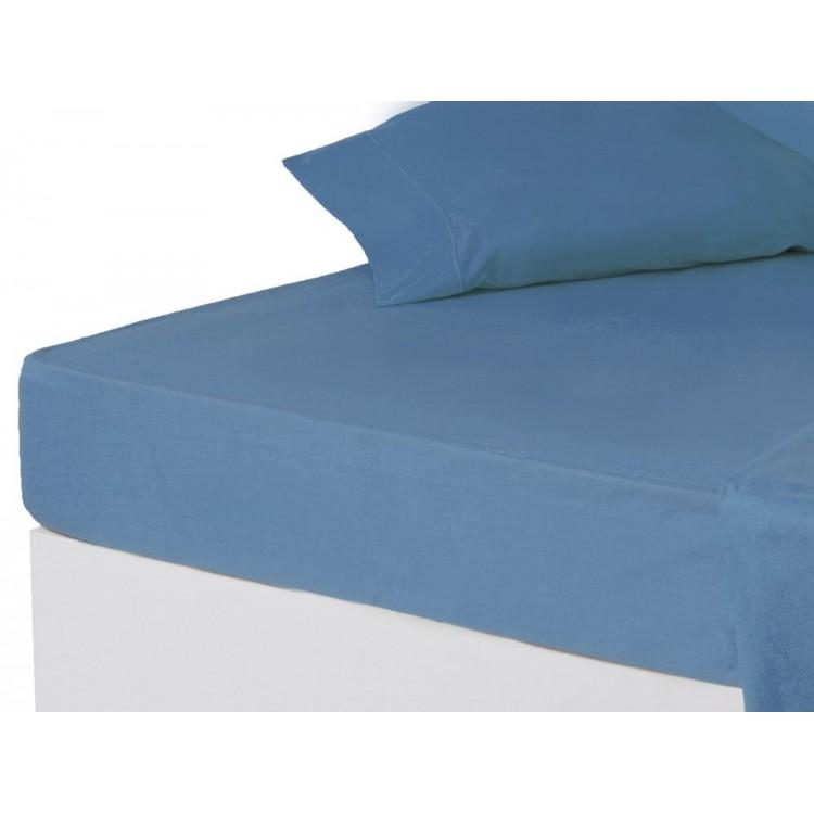 Sábana bajera azul cama 150 cm