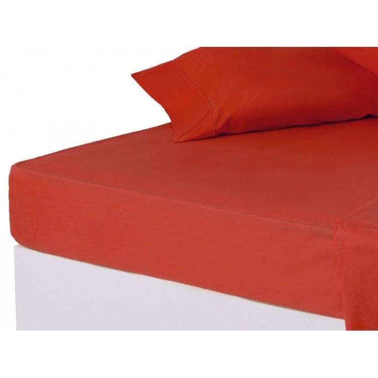 Sábana bajera roja cama 150 cm