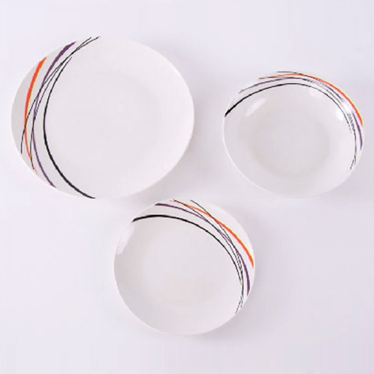 Vajilla porcelana brillante rayas, 18 piezas