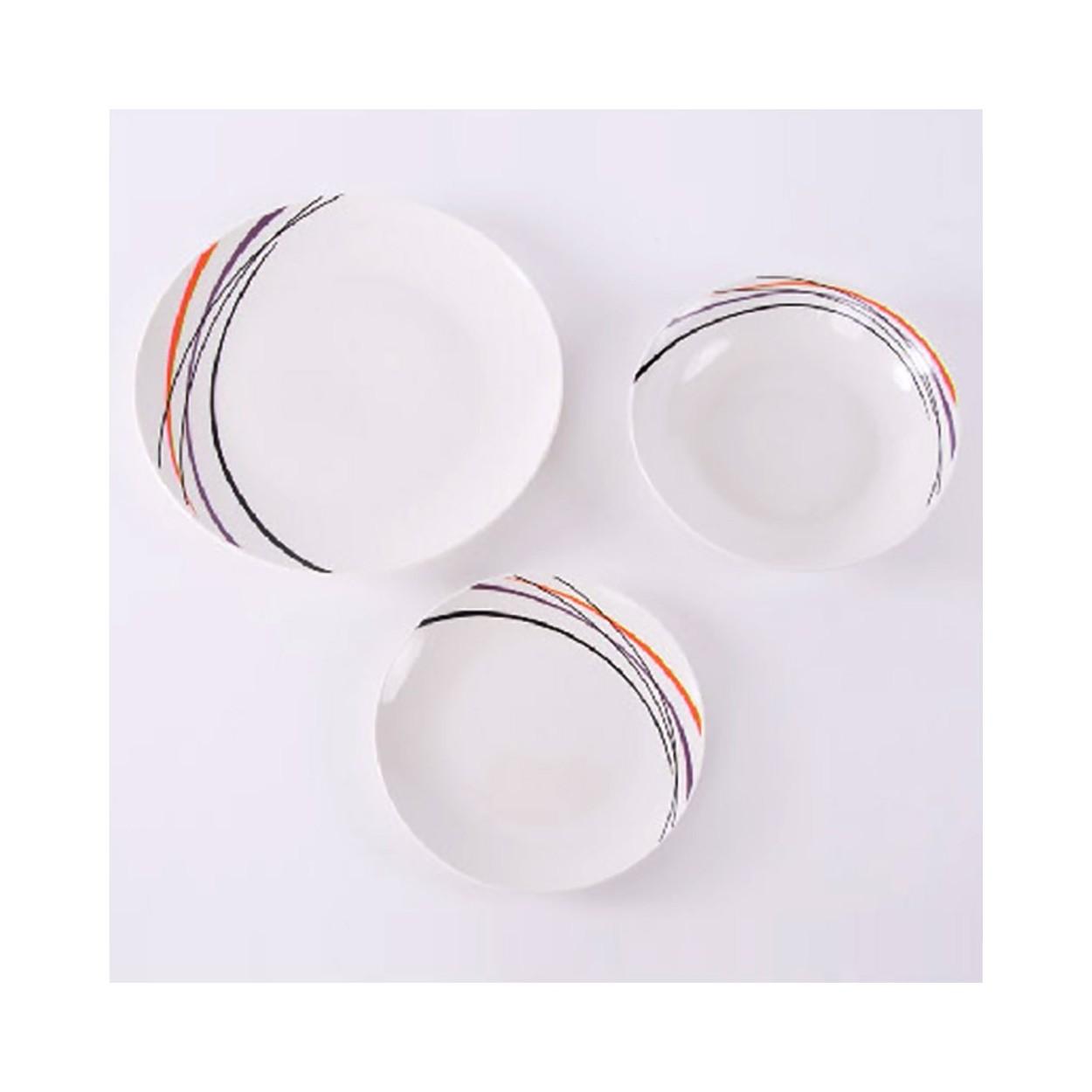 Vajilla porcelana brillante rayas 18 piezas hogar y m s - Vajilla 18 piezas ...