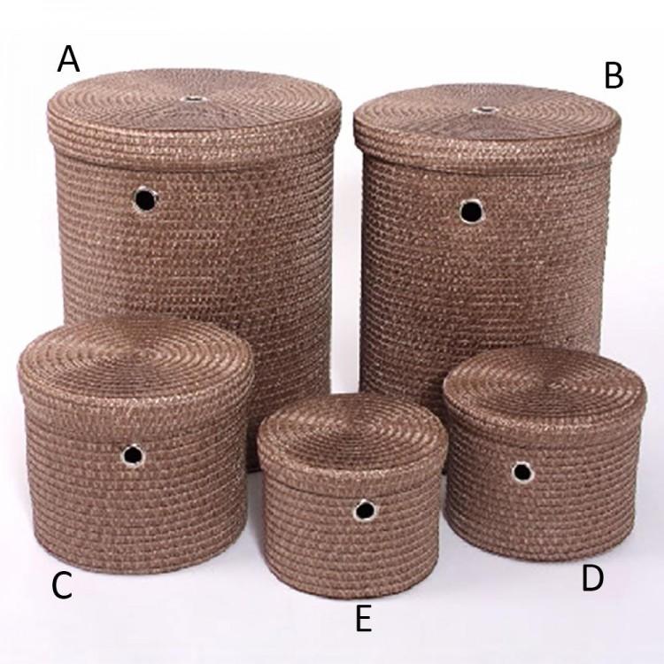 Cesto para ropa redondo con tapa marrón, cinco tamaños