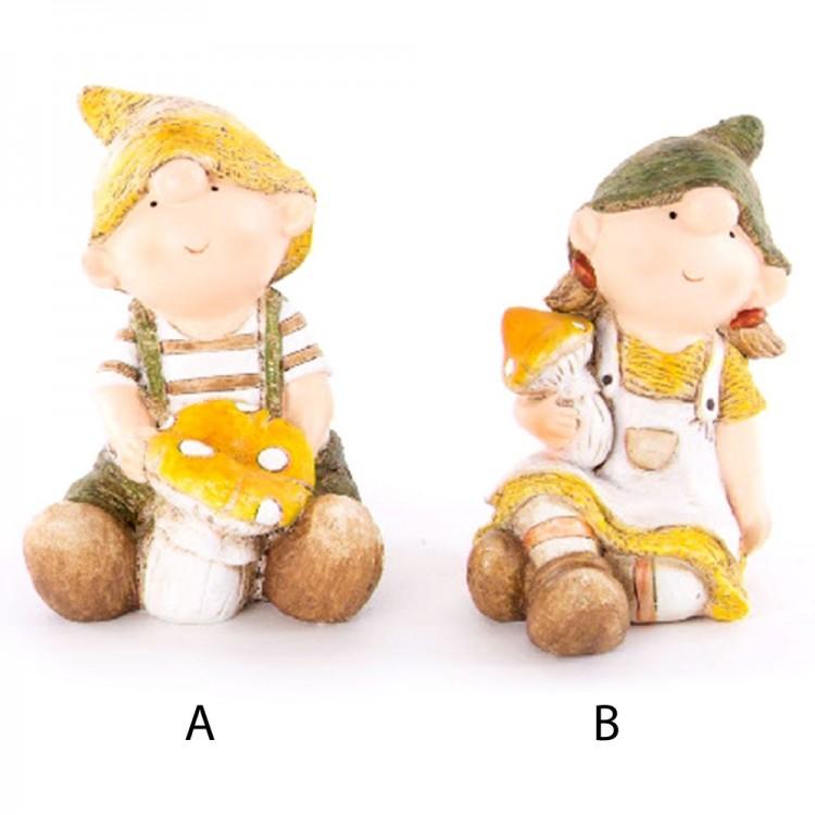Figura niño o niña con una seta, resina