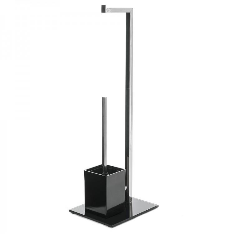 Portarrollos y escobillero metal cromado/cristal negro (22x18x71)