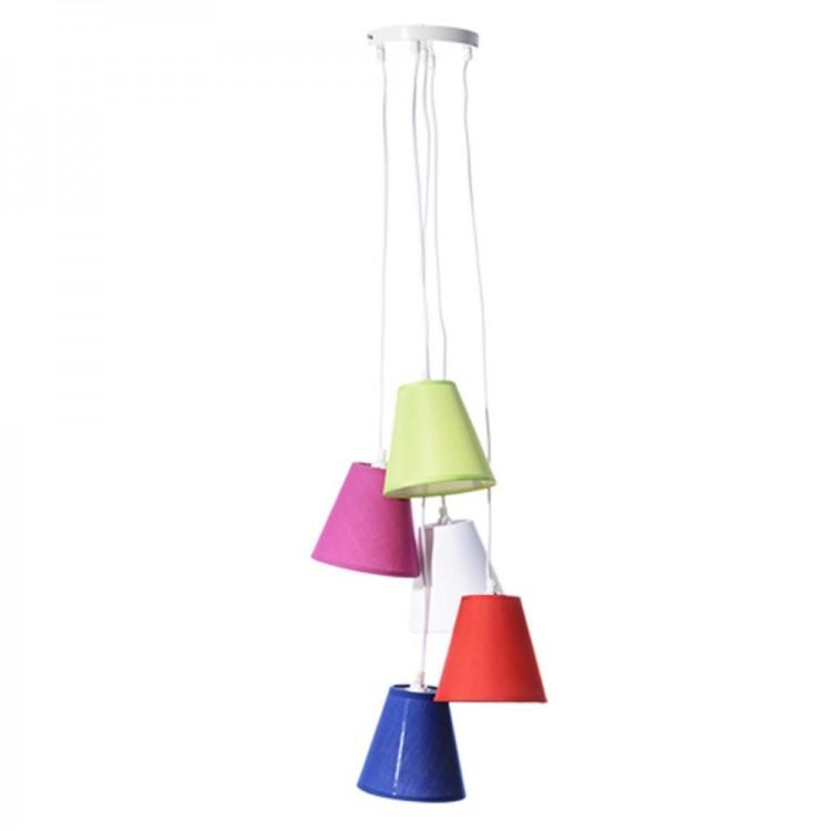 Lámpara de techo de 5 pantallas en color (30x30x100 cm) poliester y pvc