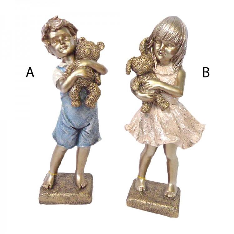 Figura dorada niño o niña con oso de peluche (14,5x12,5x13,5 cm) resina
