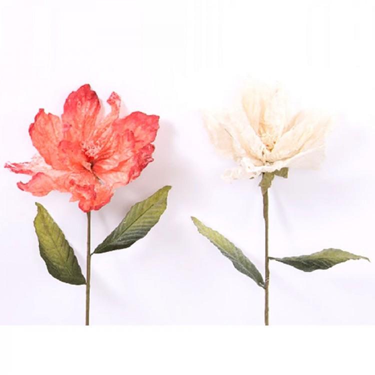 Flor artificial de tela, (70 cm) dos colores