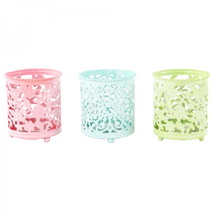 Portavelas étnico en metal de color (8x9 cm) con vaso de cristal