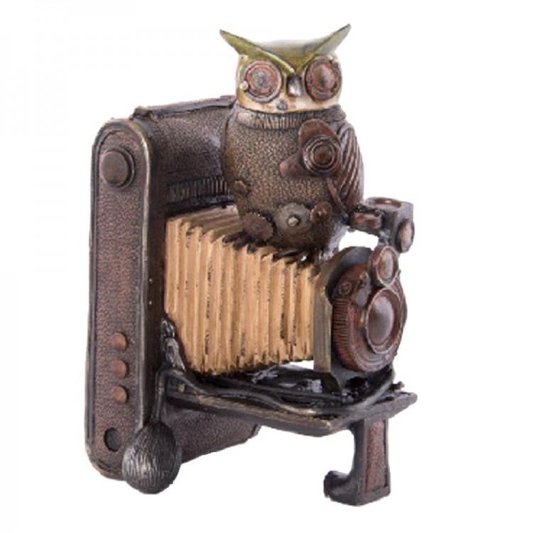 Figura cámara de fotos clásica con búho (16x14x24 cm) resina