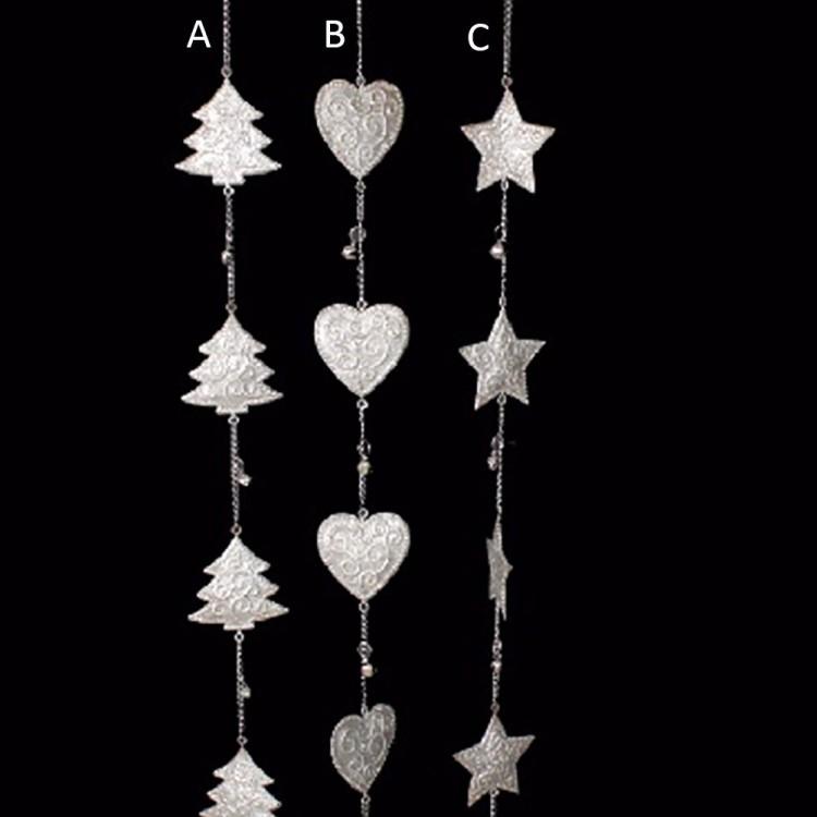 Decoración navidad cadena metal con cascabeles (108x7) tres modelos