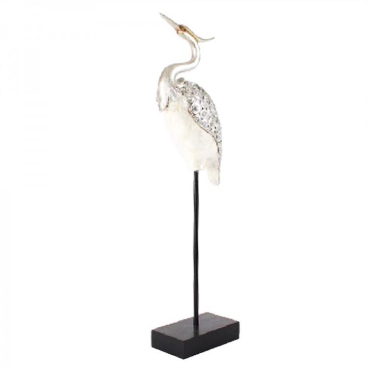 Figura garza nacarada en resina (21x10x71 cm) plateada