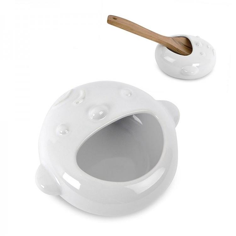 Reposa cucharas baby, cerámica blanco (15.5x12x6.5)
