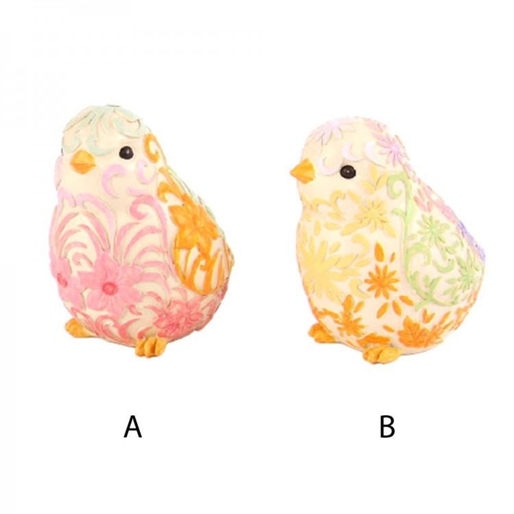 Figura pájaro floral (12x9x11 cm) resina