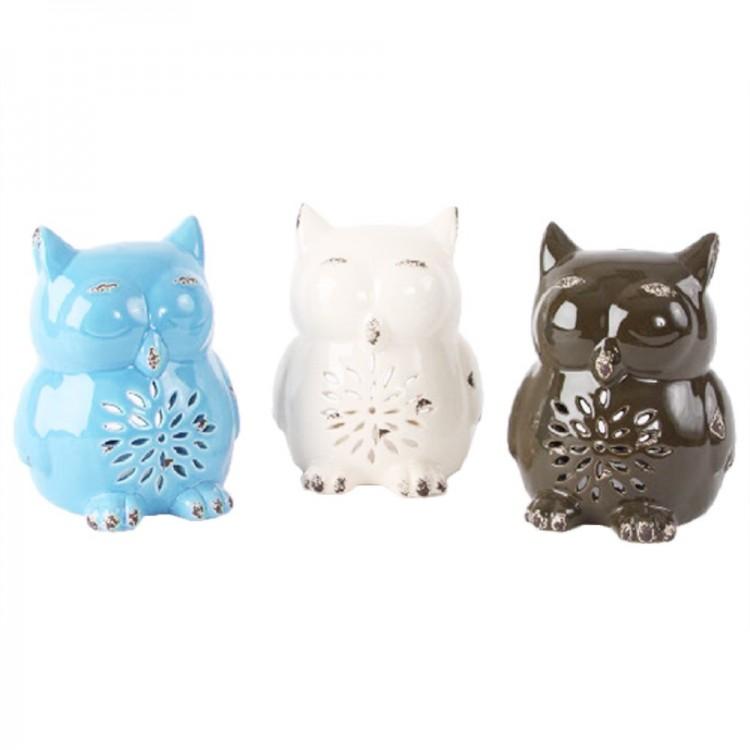 Figura / Portavelas Búho en cerámica (13x16x13 cm) color liso
