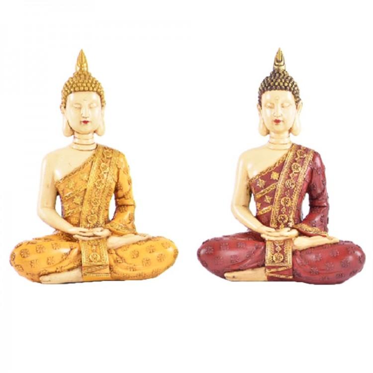 Figura Buda sentado amarillo/rojo (20x11x28 cm) resina