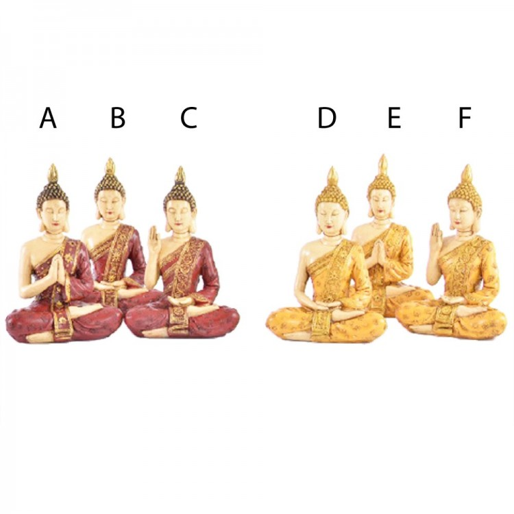 Figura Buda sentado amarillo/rojo (14,5x9,5x20,5 cm) resina