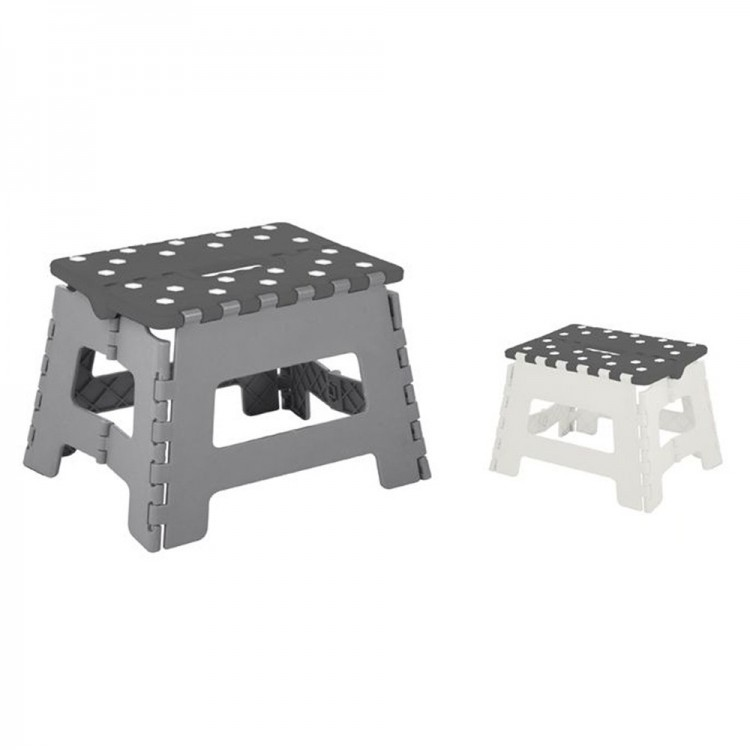 Taburete plegable gris /  blanco (32X22X25 cm) pvc