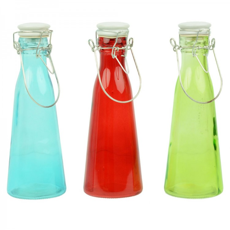 Botella de cristal con asa (24.5x8.5) tres colores