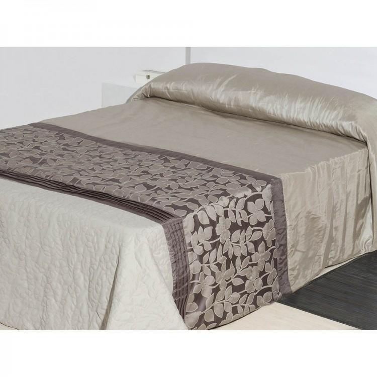 Colcha para cama de tafetán marrón floral (240x260)