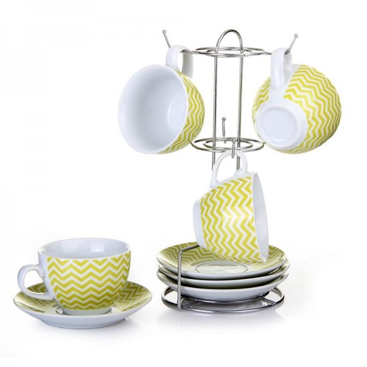 Juego de 4 tazas y platos en color verde