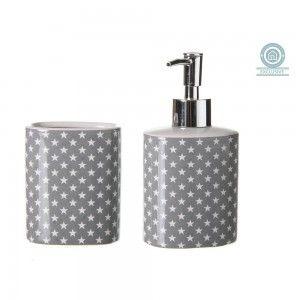 Set baño cerámica. Vaso y dosificador de jabón modelo estrellas