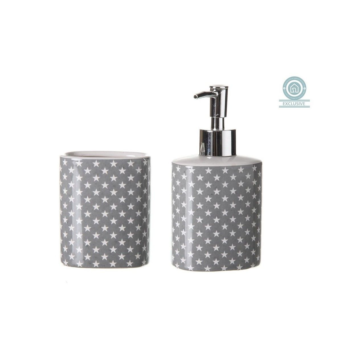 Dosificador de jab n original gris con vaso star hogar for Dosificador jabon bano