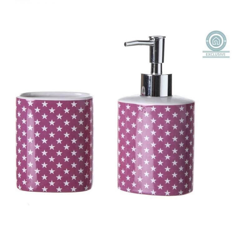 Dosificador de jab n de cer mica con vaso star hogar y m s for Accesorios bano rosa