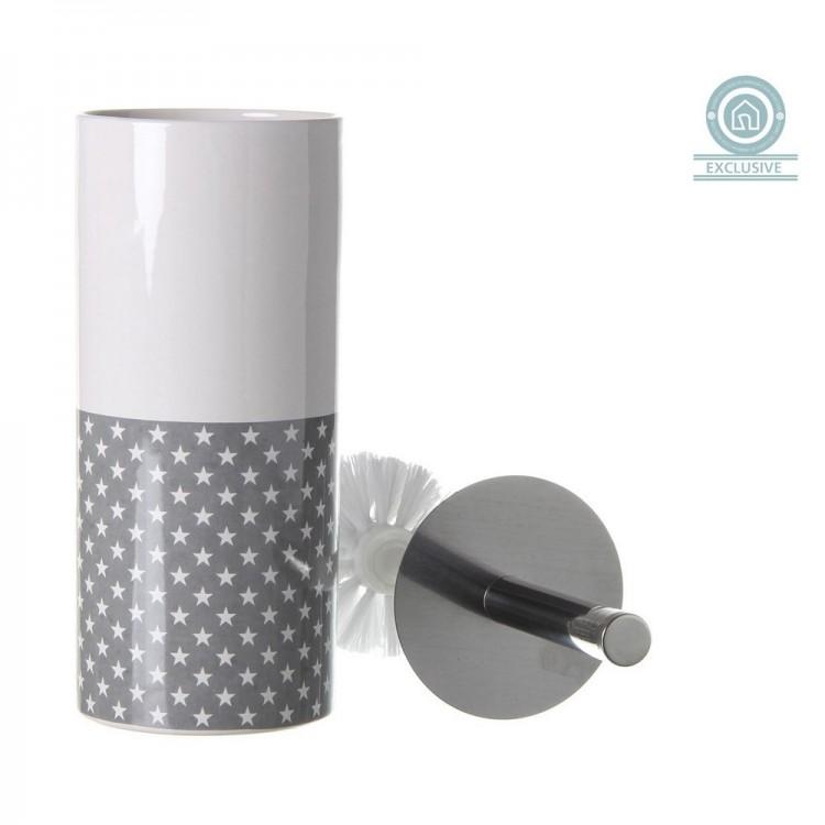 Escobillero cerámica estrellas blanco/gris, con escobilla (10x10x32 cm)