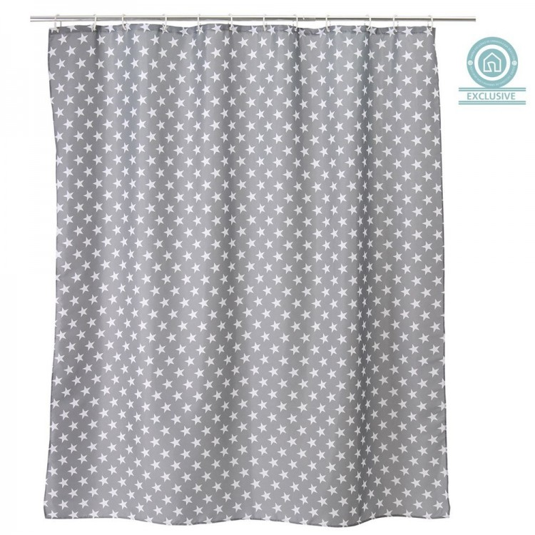 Cortina de ba o estrellas color gris hogar y mas hogar for Argollas cortina de bano