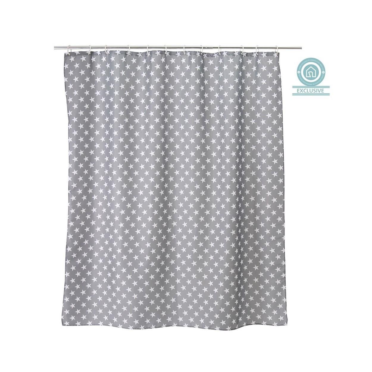 cortina de ba o estrellas color gris hogar y mas hogar y m s. Black Bedroom Furniture Sets. Home Design Ideas