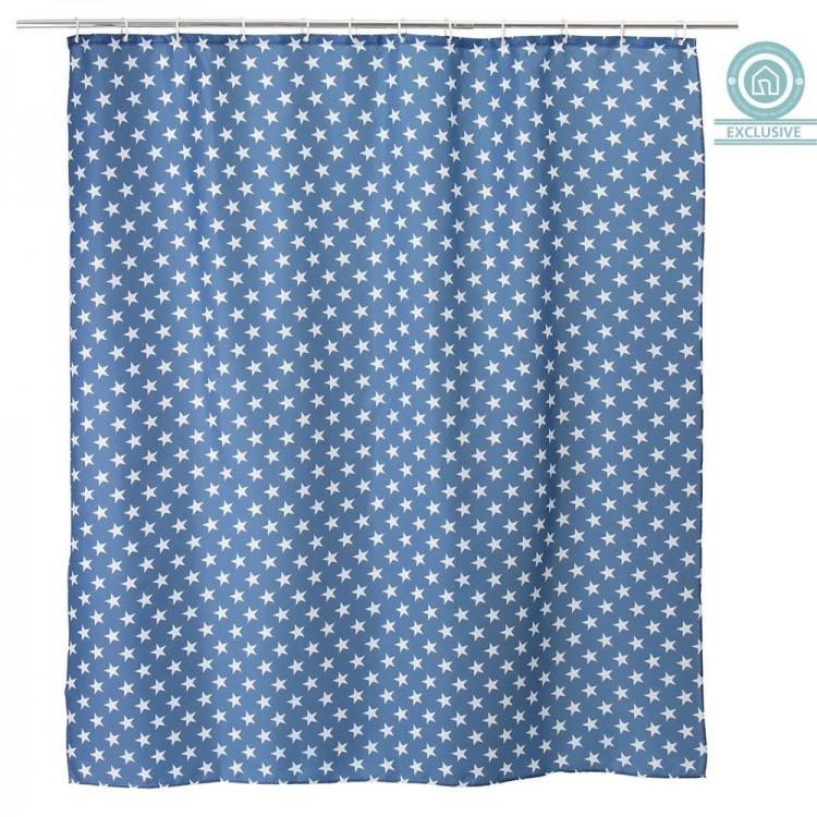 Cortina de ba o estrellas color azul 180x200 cm hogar - Cortinas para banera ...