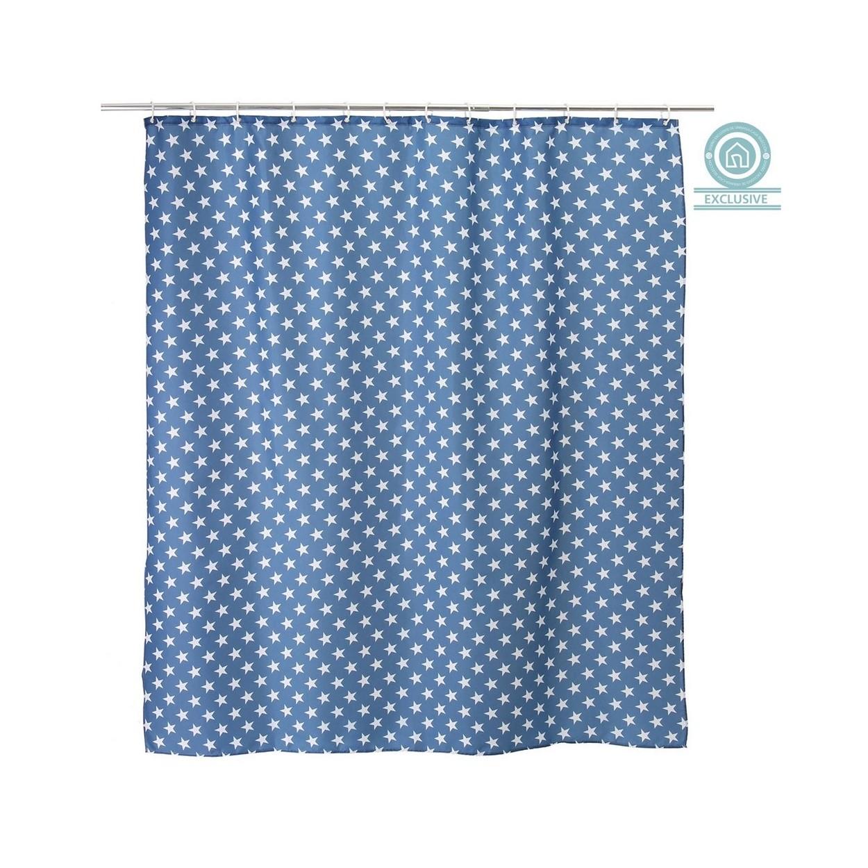 Cortina de ba o estrellas color azul 180x200 cm hogar for Argollas cortina de bano