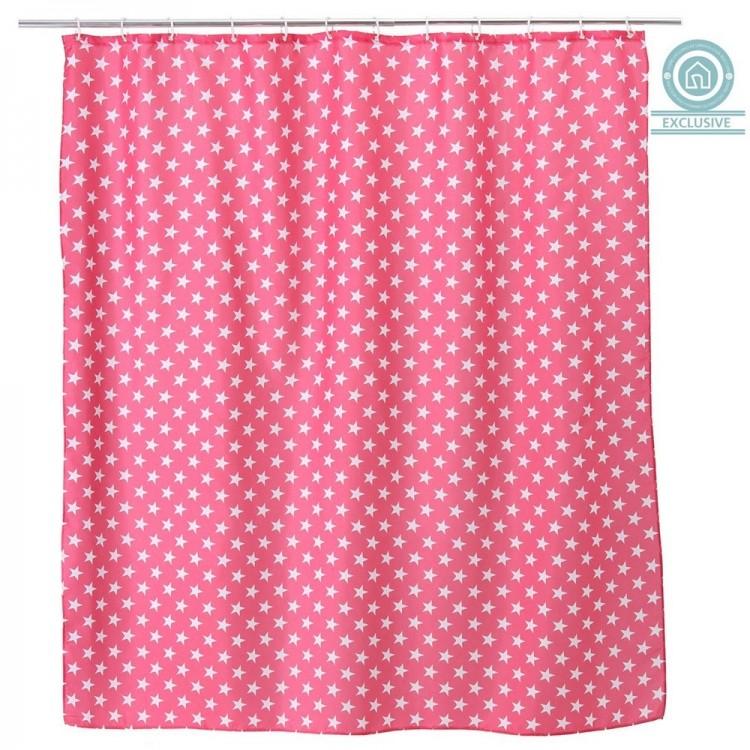 Cortina de ba o estrellas color rosa 180x200 cm hogar for Argollas cortina de bano