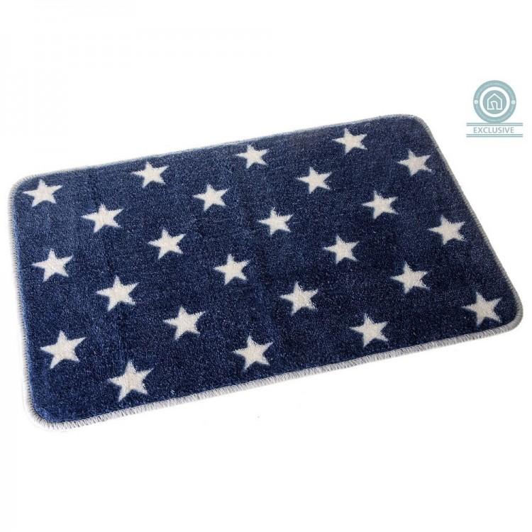 Alfombra para Baño Antideslizante, Rectangular, de Color Azul Marino. Diseño de Estrellas - Hogar y Más