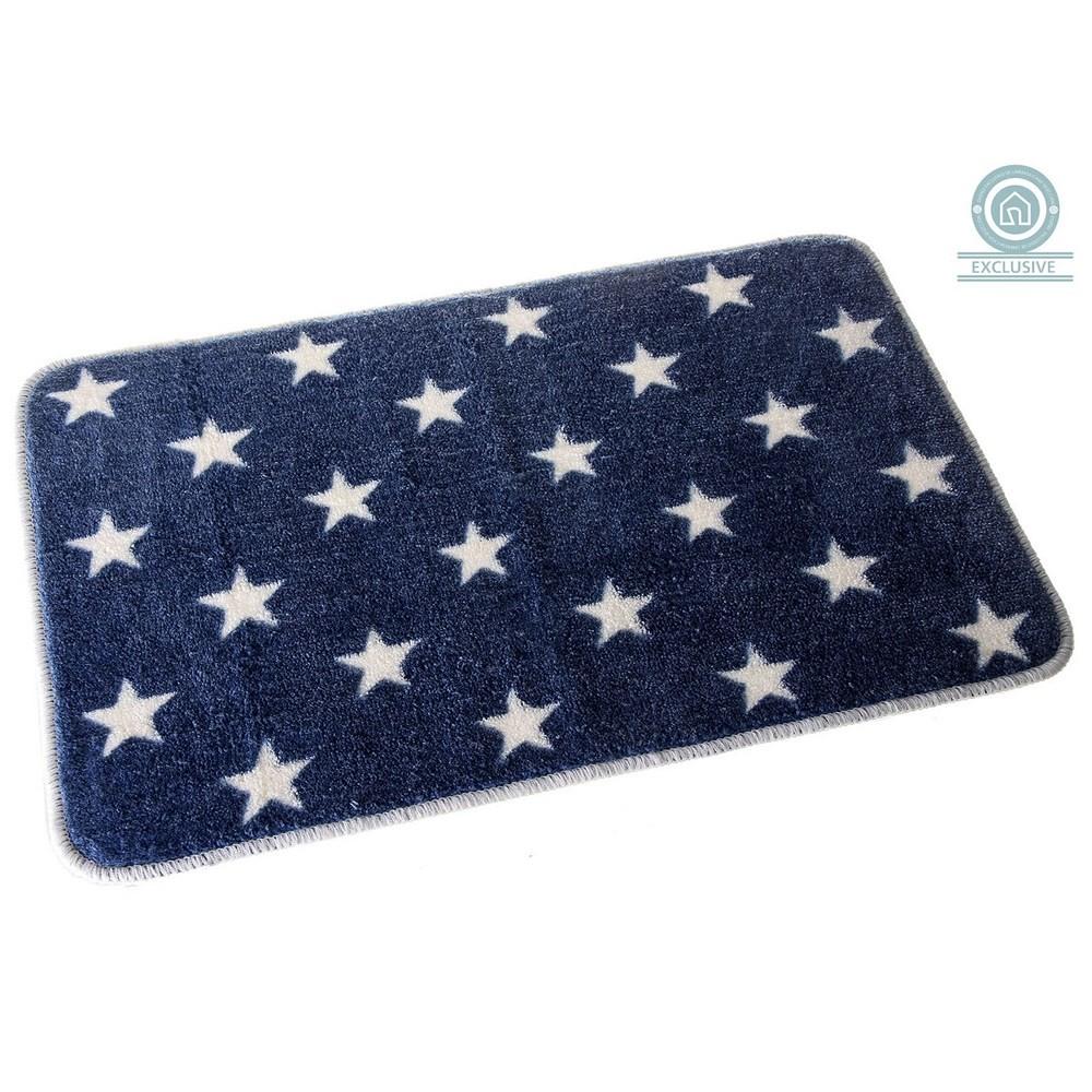 Alfombra de baño azul con estrellas (45x70 cm)