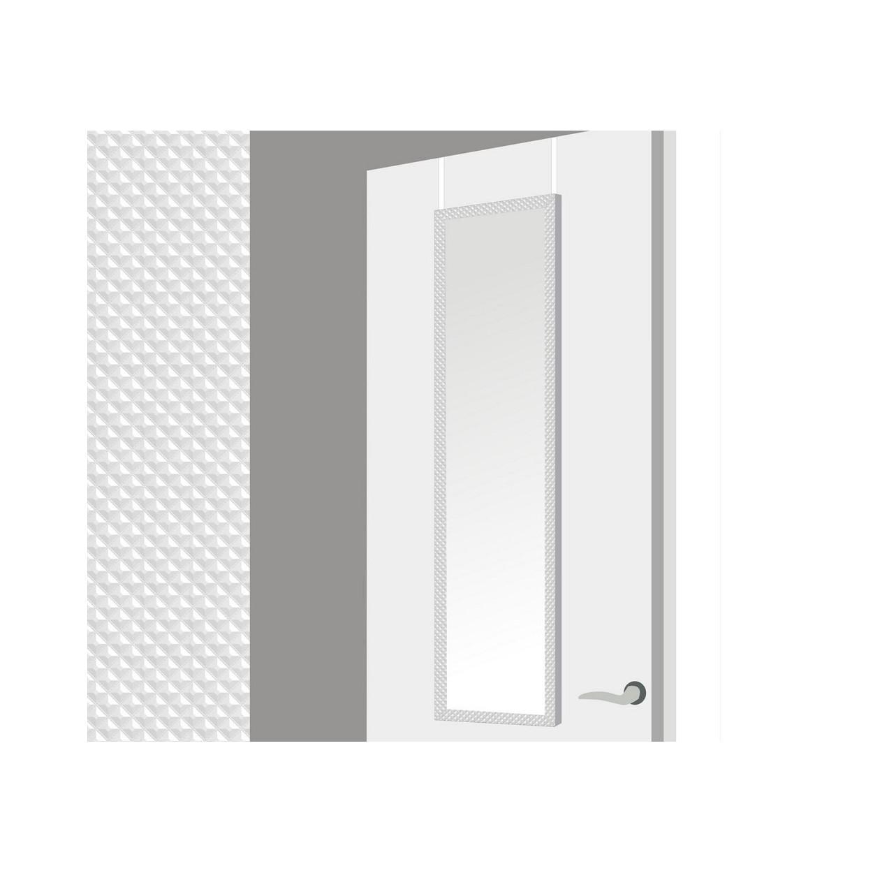 Espejo para puerta con formas geometricas en color blanco for Espejos de formas