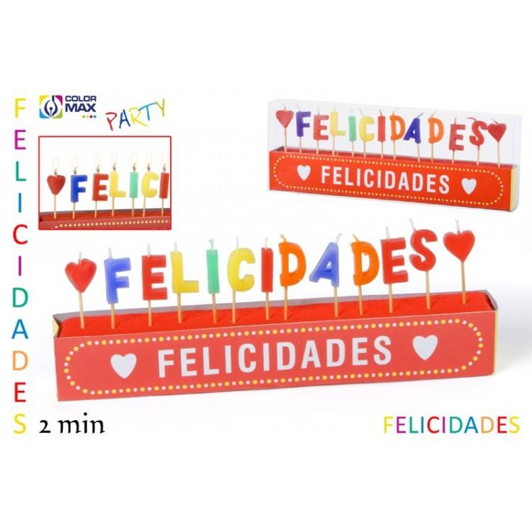 """Vela de cumpleaños divertida con frase """"Felicidades"""" Set de 13 velas"""