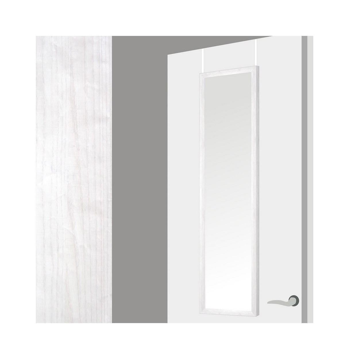 Hogar y mas espejo para puerta en madera decape blanco for Espejo para pegar en puerta