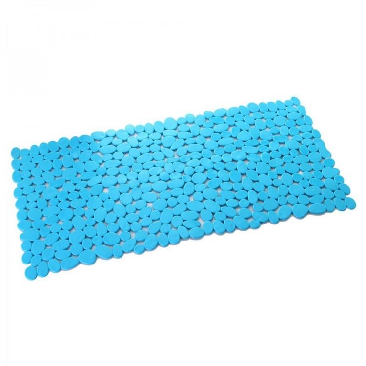 Alfombra de Baño Antideslizante, con forma Rectangular, de Color Azul Celeste. Diseño de Piedras de Rio - Hogar y Más