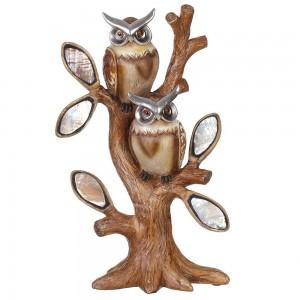 Figura buhos en resina marrón y plata (29x14.5x9.5)