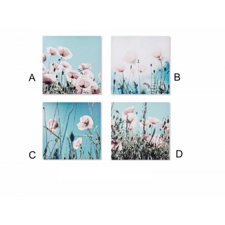 Cuadro flores imresión (50x50x1,8 cm). Cuatro modelos