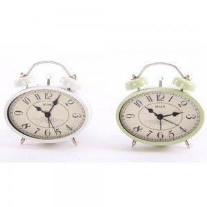 Reloj despertador modelo retro. Dos colores. (12 x 4 x 12 cm)