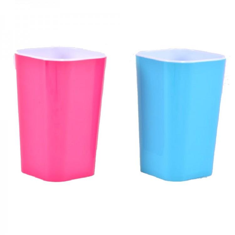 Vaso para cepillos acrílico. Dos colores. (11 x 7 x 7 cm)