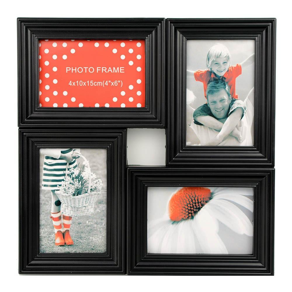 Marco multifotos de pared negro, para cuatro fotografías de 10 x 15 ...