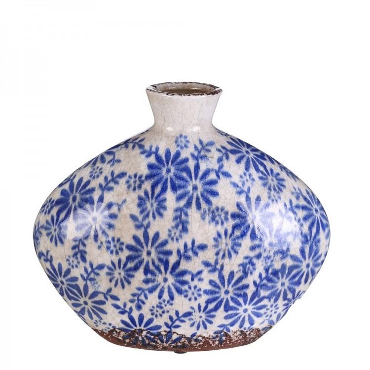 Jarrón de cerámica floral (28x13.5x25 cm)